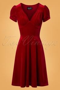50s Joanne Velvet Swing Dress in Red