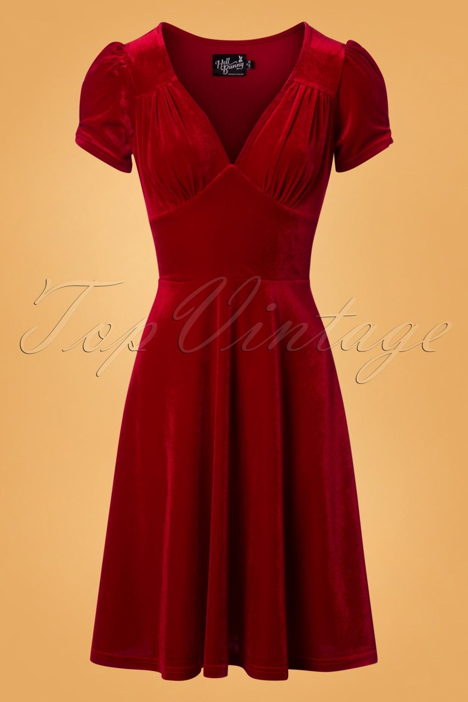 1930s Dresses | 30s Art Deco Dress Joanne Velvet Swing Dress in Red £49.87 AT vintagedancer.com