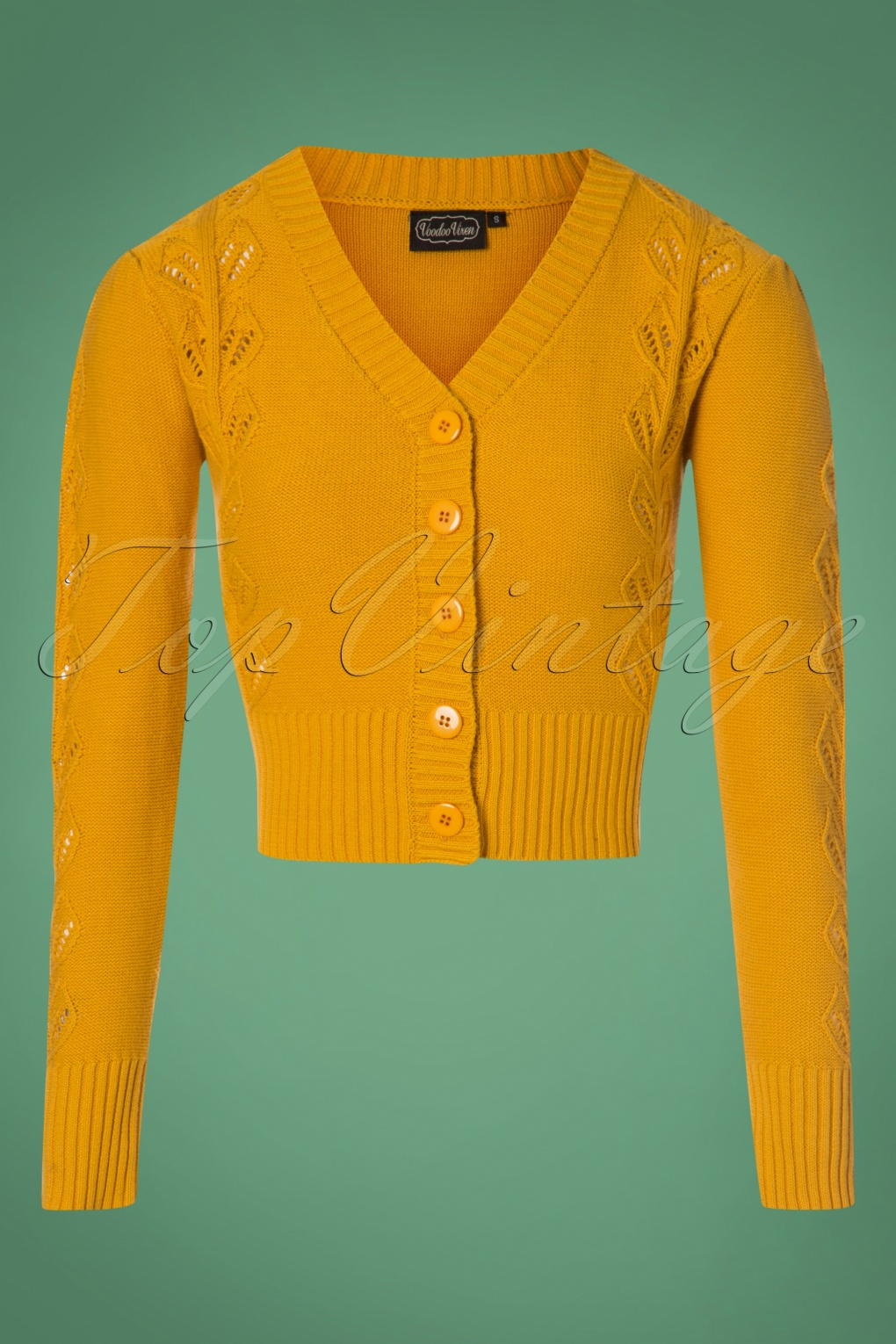 Vintage Sweaters: Cable Knit, Fair Isle Cardigans & Sweaters 40s Julia Cardigan in Mustard £38.27 AT vintagedancer.com