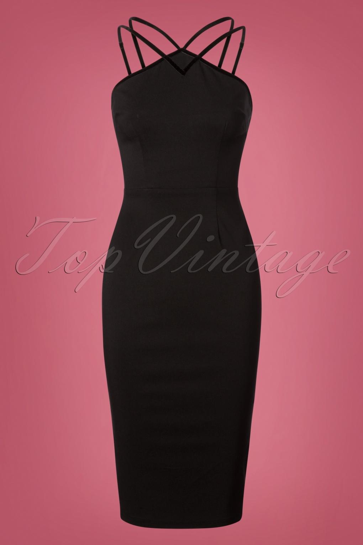 Rockabilly Dresses | Rockabilly Clothing | Viva Las Vegas 50s Alex Pencil Dress in Black £43.78 AT vintagedancer.com