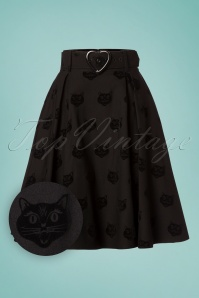 Collectif Clothing Naomi Velvet Cat Skirt 122 10 24841 20180702 0003W1