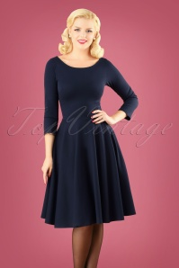Very Cherry 50s Ballerina Dress in Navy
