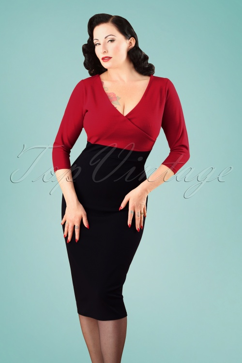 Vintage Chic 3 4 Sleeve Red Black Pencil Dress 100 20 26336 20180813 2W