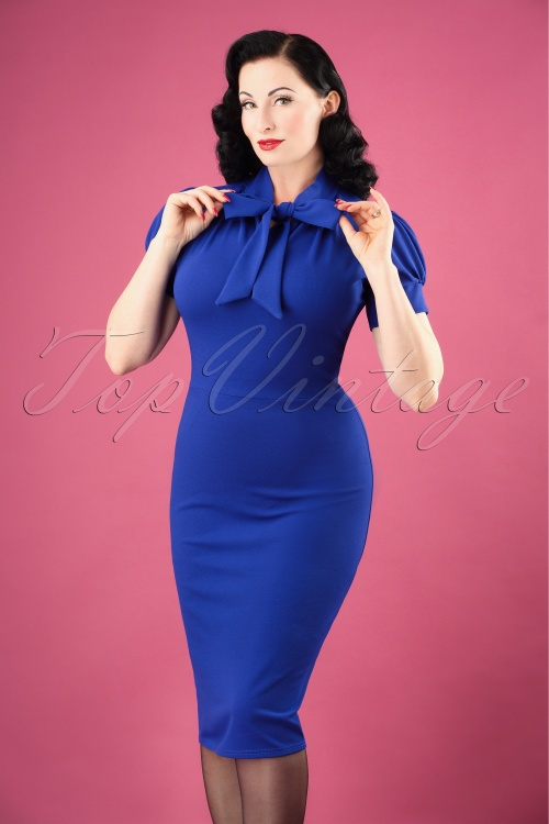 9040661c0db Vintage Chic for TopVintage 50s Bonnie Tie Neck Pencil Dress in Royal Blue