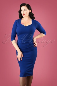 50s Cilia Pencil Dress in Royal Blue