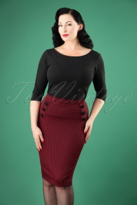 50s Luann Gingham Pencil Skirt in Burgundy
