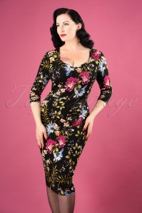 Cendra Floral Pencil Dress Années 50 en Noir