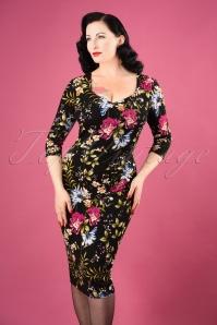 50s Cendra Floral Pencil Dress in Black