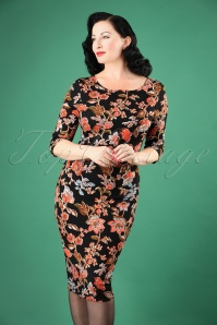 50s Signature Floral Pencil Dress in Black and Coral
