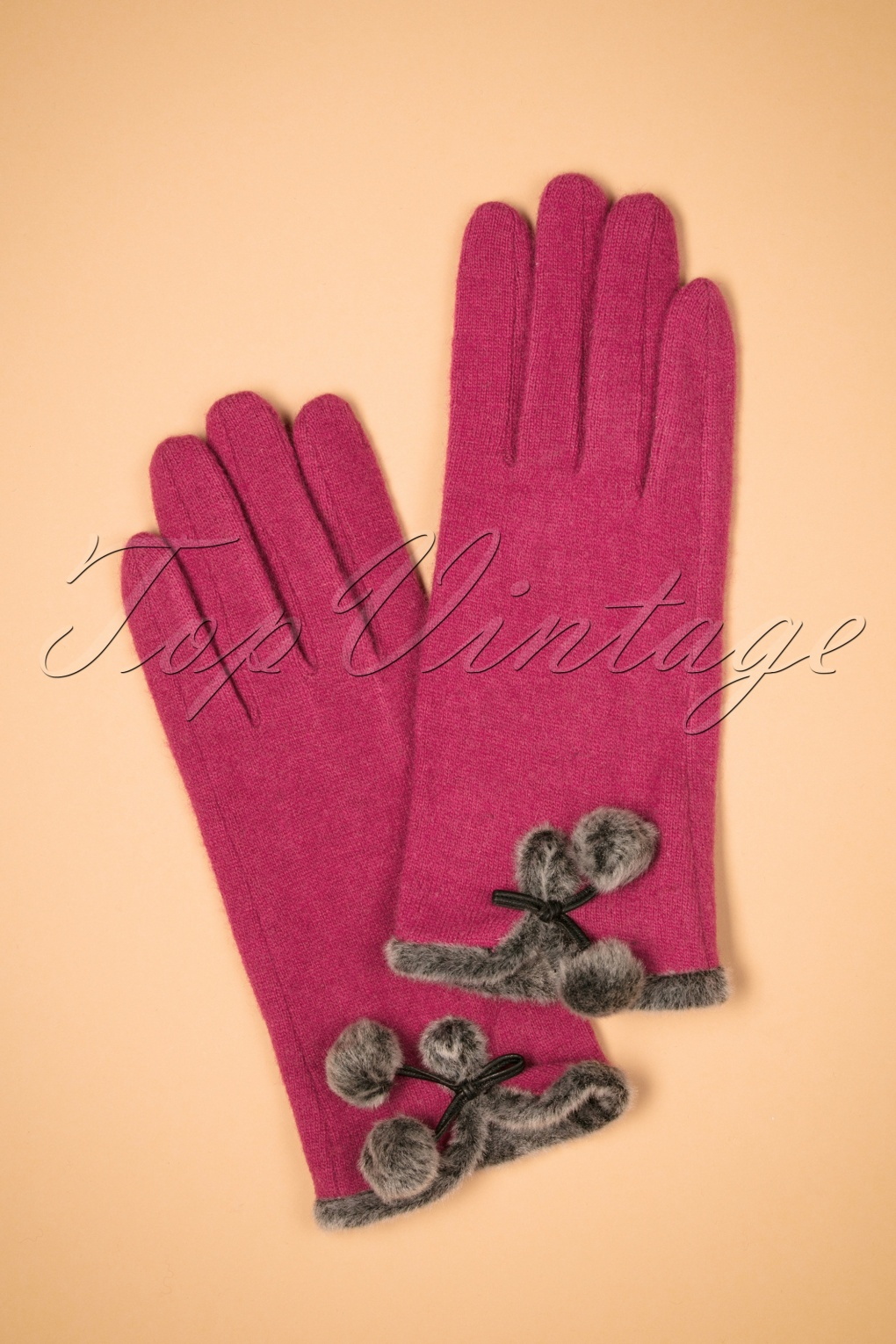 Vintage Style Gloves- Long, Wrist, Evening, Day, Leather, Lace 40s Betty Pom Pom Wool Gloves in Damson Purple £23.99 AT vintagedancer.com