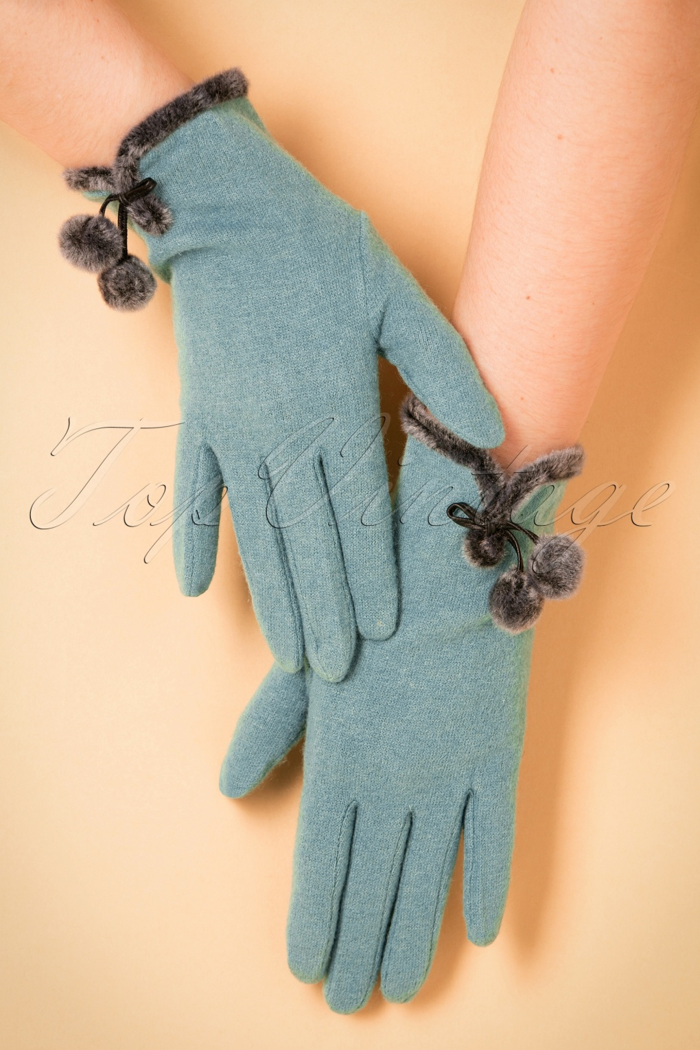 Vintage Style Gloves- Long, Wrist, Evening, Day, Leather, Lace 40s Betty Pom Pom Wool Gloves in Ice Blue £23.99 AT vintagedancer.com
