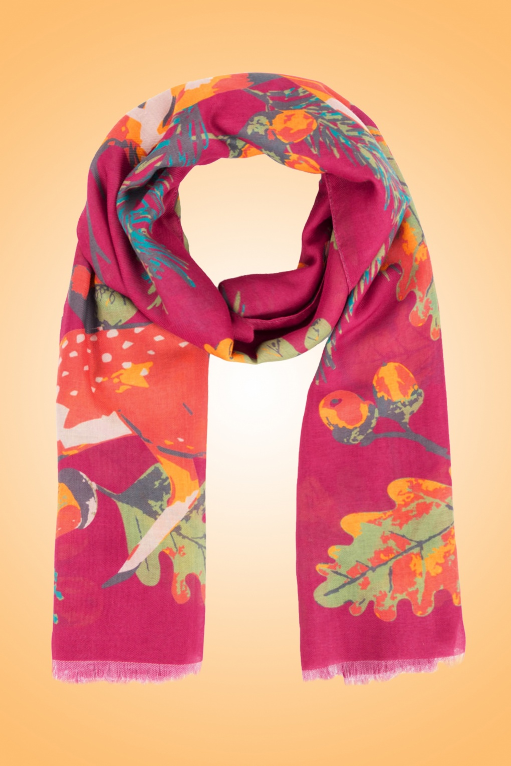 Vintage Scarves- New in the 1920s to 1960s Styles 70s Scandi Deer Scarf in Fuchsia £26.23 AT vintagedancer.com