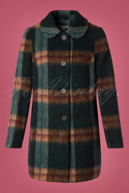 Vintage Coats & Jackets | Retro Coats and Jackets 60s Eloise Wool Coat in Olive Plaid £185.10 AT vintagedancer.com
