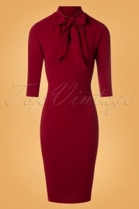 50s Lindsay Tie Neck Pencil Dress in Wine