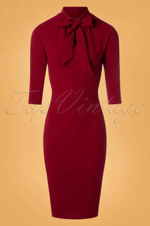 Vintage Chic Tie Neck Red Dress  100 20 26332 20180828 0009W