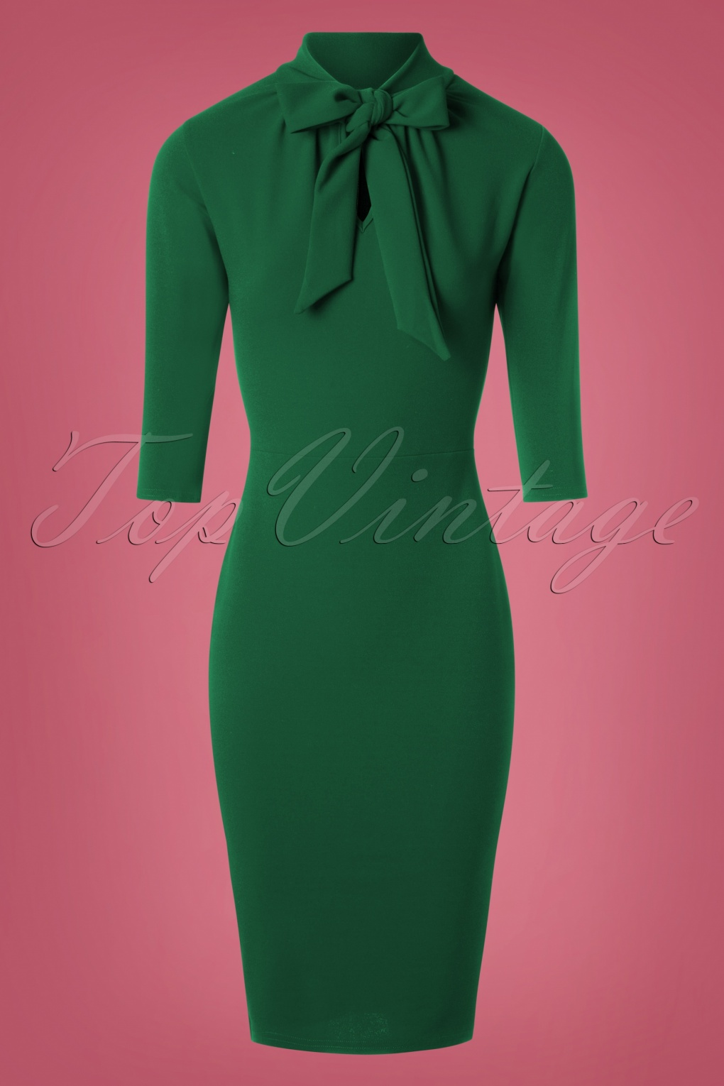 1960s Dresses | 60s Dresses Mod, Mini, Jakie O, Hippie 50s Lindsay Tie Neck Pencil Dress in Emerald Green £48.91 AT vintagedancer.com