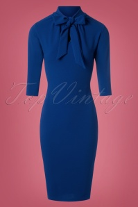 Vintage Chic Tie Neck Blue Dress  100 20 26510 20180828 0009W