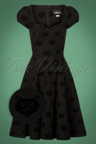 Collectif Clothing 50s Mimi Velvet Cat Doll Dress 102 10 24807 20180627 0007Z