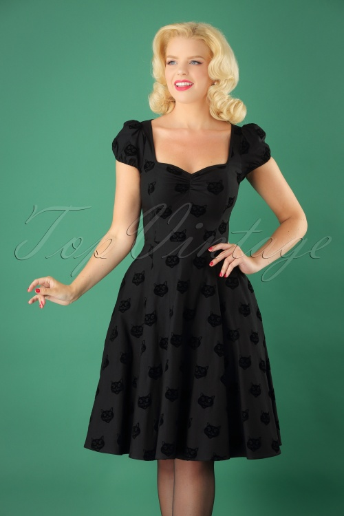 Collectif Clothing 50s Mimi Velvet Cat Doll Dress 102 10 24807 20180627 0011M