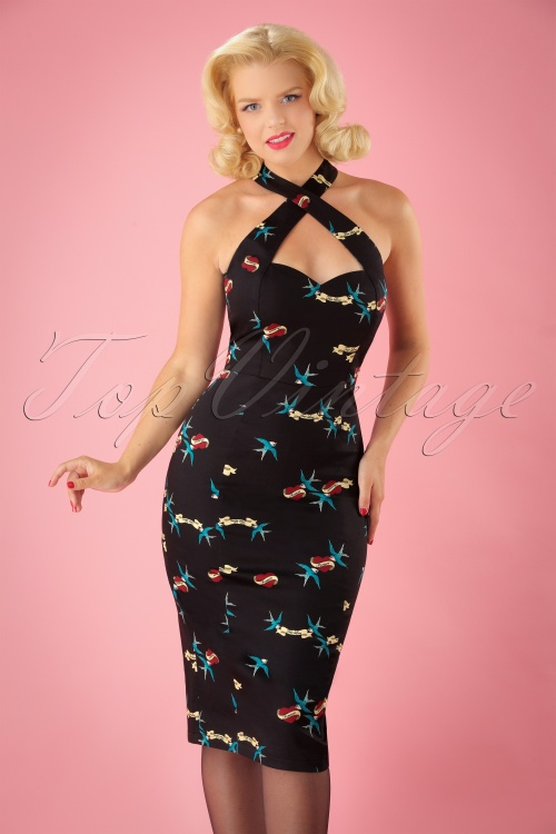 Collectif Clothing Penny True Love Pencil Dress 100 14 24890 20180911 01W