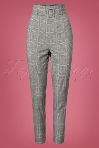 50s Thea Check Trousers in Black and White