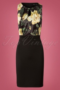 Smashed Lemon Black and Light Yellow Floral Pencil Dress 25607 20180724 0001W