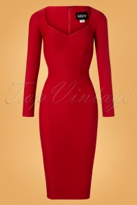 Collectif Clothing Helene Pencil Dress in Red 100 20 24884 20180911 0003W