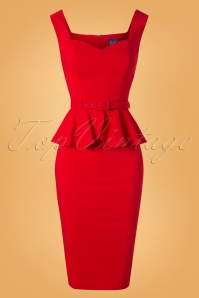 50s Mae Pencil Dress in Red