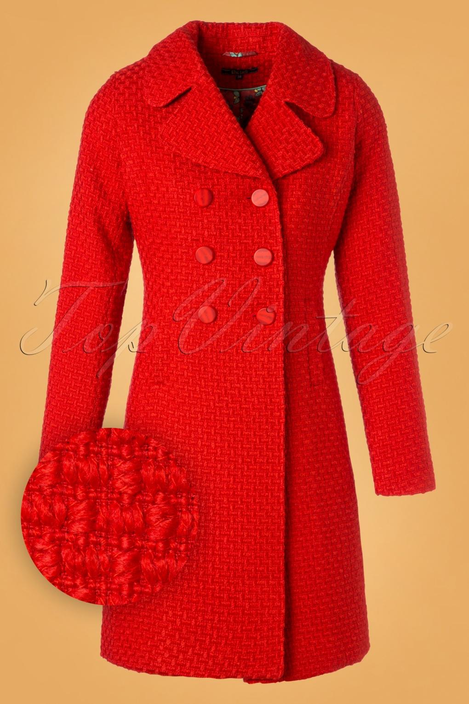 Vintage Coats & Jackets | Retro Coats and Jackets 60s Lorelai Biscuit Coat in Scarlet Red £162.09 AT vintagedancer.com