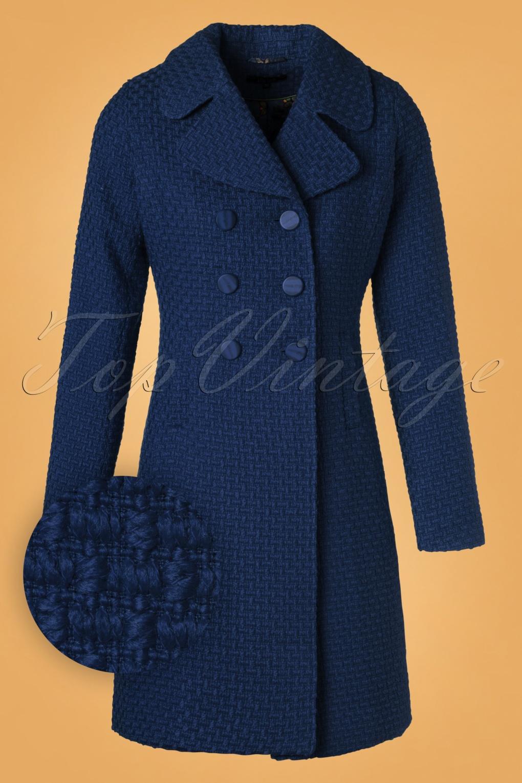 Women's 70s Shirts, Blouses, Hippie Tops 60s Lorelai Biscuit Coat in Dark Blue £161.95 AT vintagedancer.com