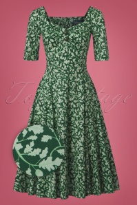 Collectif Clothing 50s Dolores Half Sleeve Leafy Doll Dress 102 49 24829 20180702 0004Z