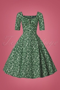 Collectif Clothing 50s Dolores Half Sleeve Leafy Doll Dress 102 49 24829 20180702 0002W