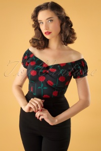 50s Dolores Rose Stem Top in Black