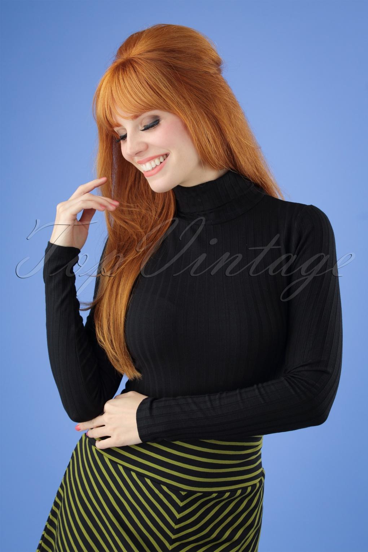 Women's 70s Shirts, Blouses, Hippie Tops 70s Rollneck Roulette Top in Black £44.35 AT vintagedancer.com