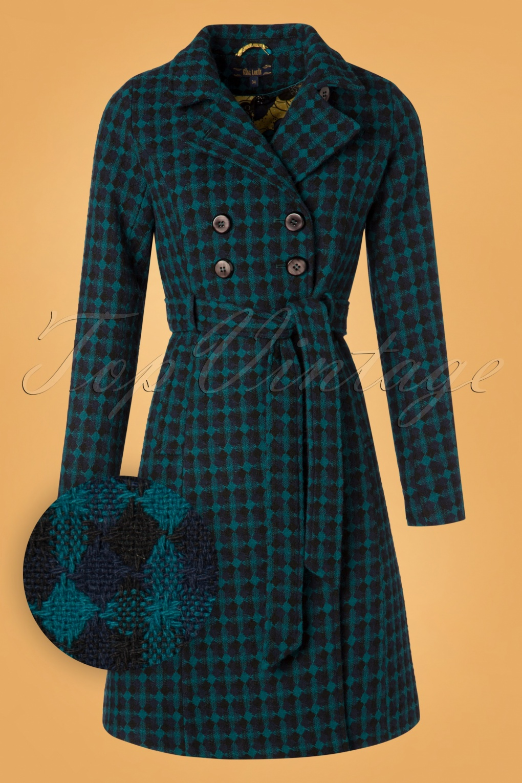 Vintage Coats & Jackets | Retro Coats and Jackets 60s Simone Madison Coat in Black and Blue £176.29 AT vintagedancer.com