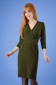 60s Marquee Stripe Cross Tulip Dress in Black