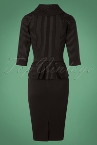 Miss Candyfloss Black Pinstripe Pencil Dress 100 10 26331 20180912 0010W