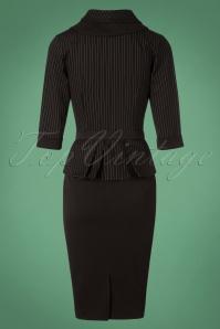 Miss Candyfloss Black Pinstripe Pencil Dress 100 10 26331 20180912 0010W