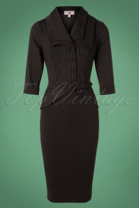 40s Zoey Gia Pinstripes Pencil Dress in Black