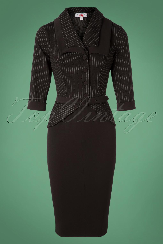 Wiggle Dresses   Pencil Dresses 40s, 50s, 60s 40s Zoey Gia Pinstripes Pencil Dress in Black £102.26 AT vintagedancer.com