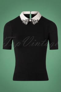 Bunny Bow Collar Top in Black 110 10 25892 20180912 0002W