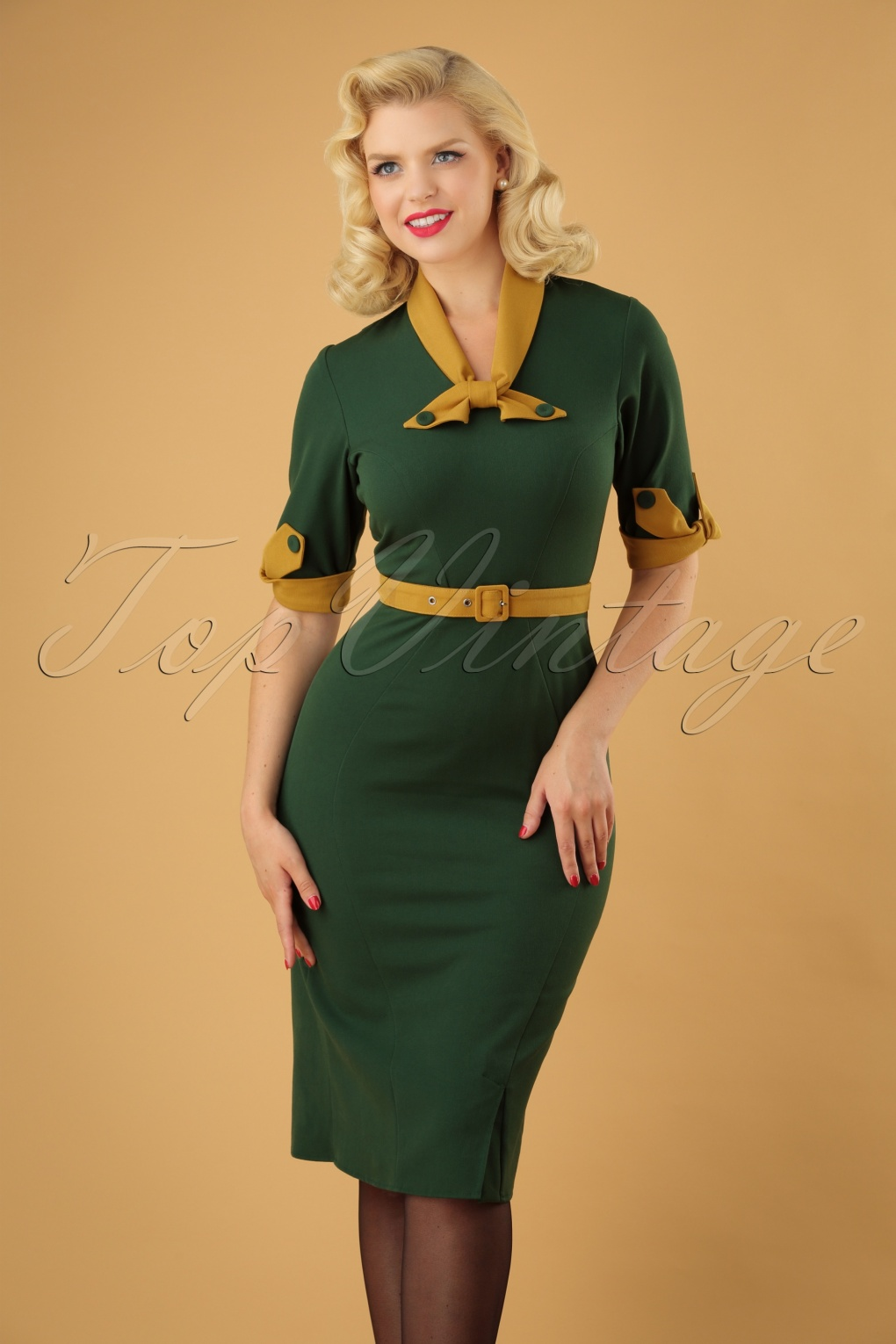 1940s Dresses | 40s Dress, Swing Dress 40s Kathryn Pencil Dress in Green and Mustard £89.83 AT vintagedancer.com