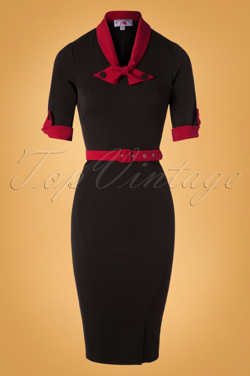 Wiggle Dresses | Pencil Dresses 40s, 50s, 60s 40s Kathryn Pencil Dress in Black and Red £53.81 AT vintagedancer.com