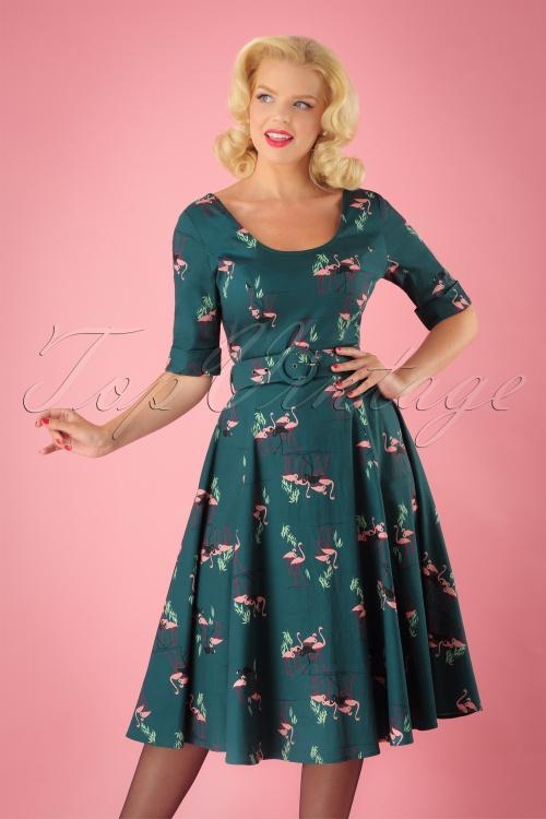 50s June Flamingo Swing Dress in Teal