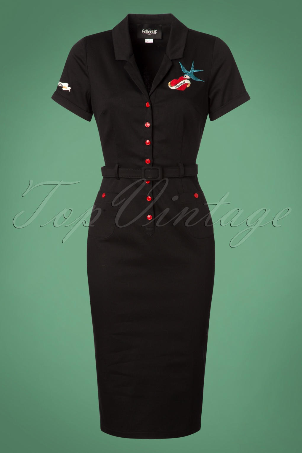 Wiggle Dresses | Pencil Dresses 40s, 50s, 60s 50s Caterina True Love Pencil Dress in Black £66.32 AT vintagedancer.com