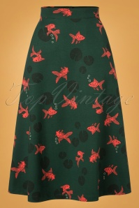 60s Swim With The Fishes Skirt in Green