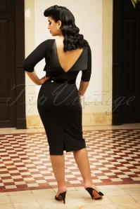 Vintage Diva Mavis Pencil Dress in Black   20180612 0021W