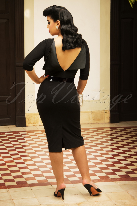 Rockabilly Dresses | Rockabilly Clothing | Viva Las Vegas The Mavis Pencil Dress in Black £115.11 AT vintagedancer.com