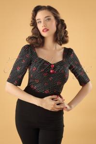 Dolores Half Sleeve Cherry Polkadot Top Années 50 en Noir