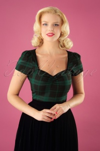 50s Mimi Slyther Check Top in Black and Green